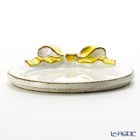 Florentine Wooden Crafts '1020' White & Yellow Ribbon Round Coaster 10.5cm