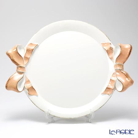 フィレンツェ トレイ ラウンド 38×47cm リボン ホワイト/ピンク 1000