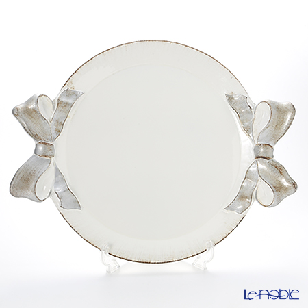 Florentine Wooden Crafts '1000' White & Silver Ribbon Round Tray 37.5x47cm