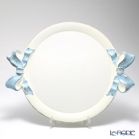 フィレンツェ トレイ ラウンド 45×55cm リボン ホワイト/ライトブルー 1001