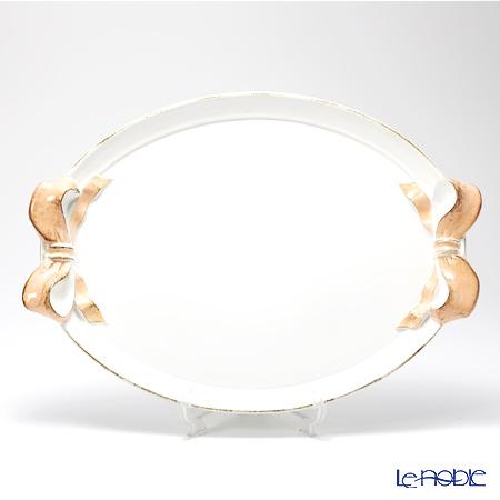 フィレンツェ トレイ オーバル 36×51cm リボン ホワイト/ピンク 1004