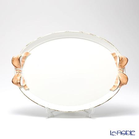 フィレンツェ トレイ オーバル 30×43cm リボン ホワイト/ピンク 1003