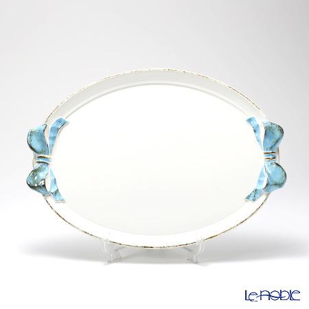 フィレンツェ トレイ オーバル36×51cm リボン ホワイト/ライトブルー 1004