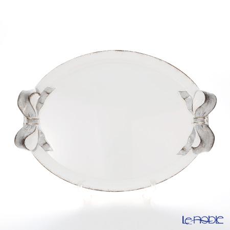 フィレンツェ トレイ オーバル 36×51cm ホワイト/シルバーリボン 1004