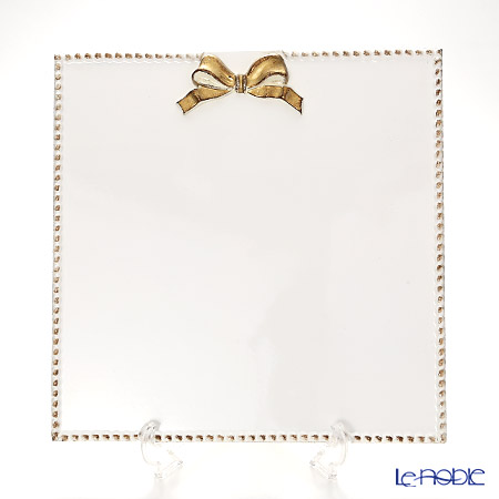 フィレンツェ スクエアボード リボン 2100 ホワイト/ゴールドリボン 33×33cm
