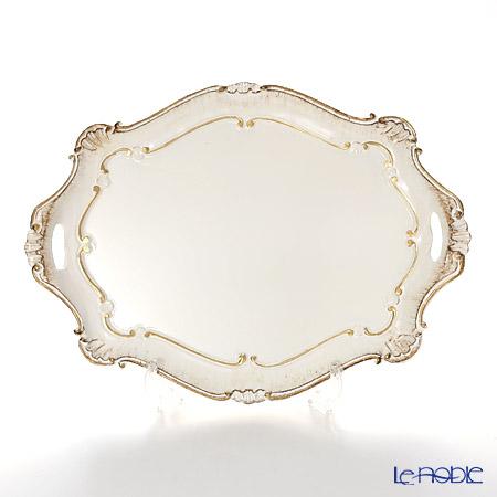 フィレンツェトレイ バロッコ オーバル 41.5×30cm ホワイト/ゴールド 3050/1
