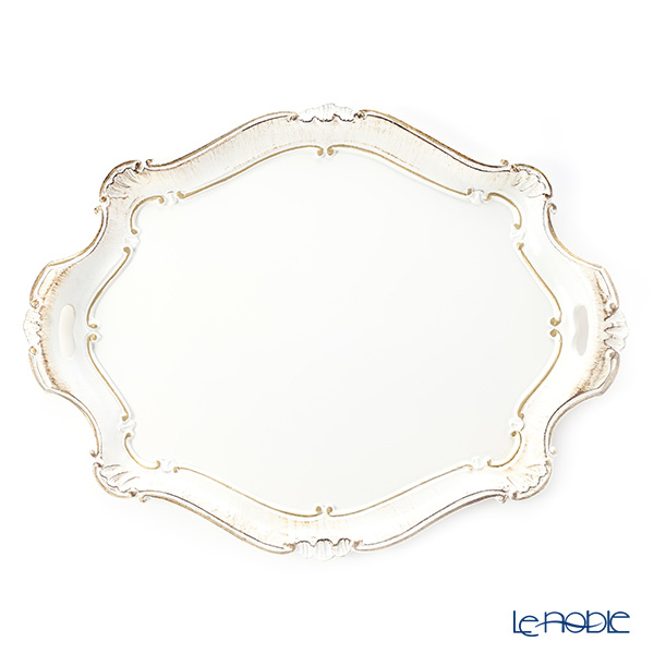 Florentine Wooden Crafts 3050/3 White & Gold Oval Tray (Barocco shape) 51.5x39cm