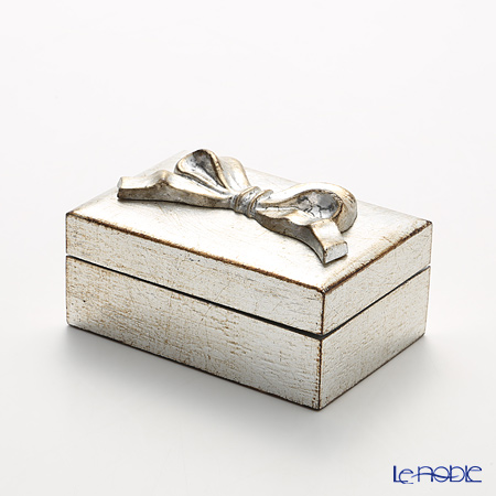 Florentine Wooden Crafts Silver Rectangular Box with Ribbon 12.5x8cm
