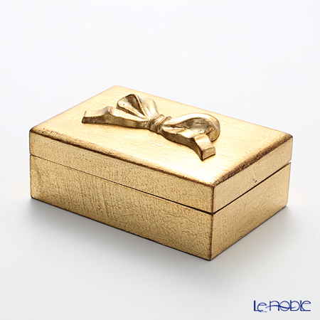 Florentine Wooden Crafts Gold Rectangular Box with Ribbon 15x10cm