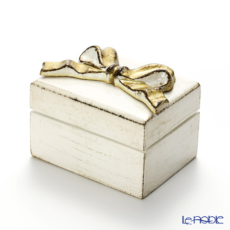 Firenze Tray Rectangular Box Ribbon, white/gold, 7x9x4cm