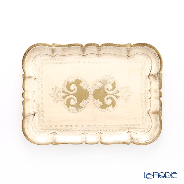 フィレンツェ トレイ 長方形 ホワイト×ゴールド 29×21.5cm 3046/2