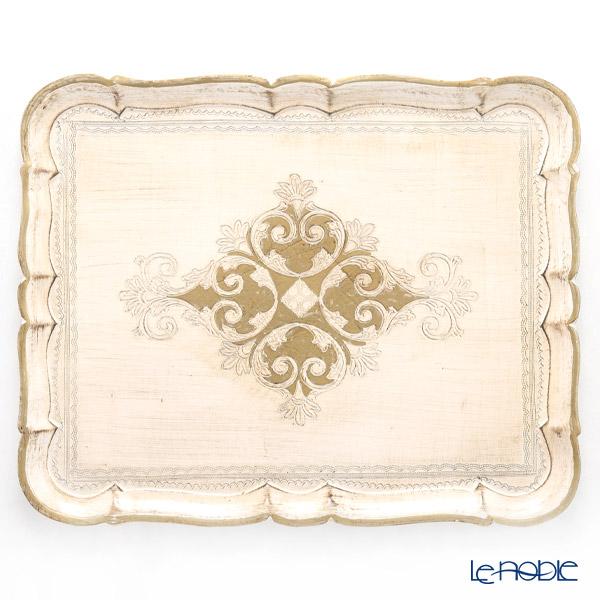 フィレンツェ トレイ 長方形 ホワイト×ゴールド 46.5×37.5cm 3046/5