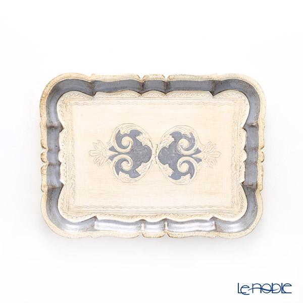 フィレンツェ トレイ 長方形 ホワイト×ブルーグレー 29×21.5cm 3046/2