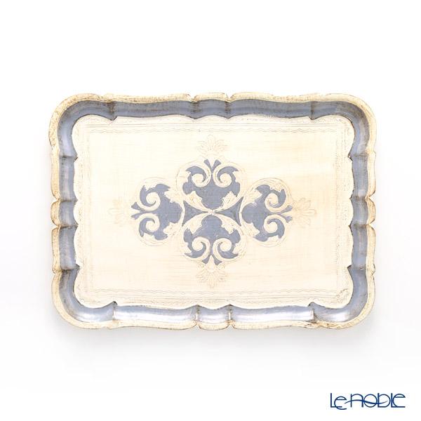 フィレンツェ トレイ 長方形 ホワイト×ブルーグレー 36×26.5cm 3046/3