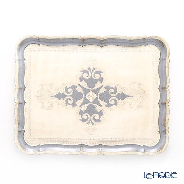 フィレンツェ トレイ 長方形 ホワイト×ブルーグレー 41.5×32cm 3046/4