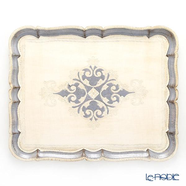 フィレンツェ トレイ 長方形 ホワイト×ブルーグレー 46×37cm 3046/5