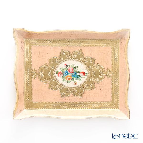 フィレンツェ トレイ 長方形 フラワー ピンク ゴールド 28×36cm 94146