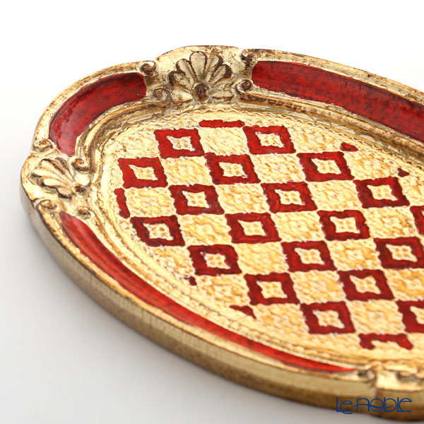 Florentine Wooden Crafts 12/T-0 Red & Gold Oval Tray (S) 26x17cm