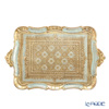 Florentine Wooden Crafts 'Turquoise Blue' Rectangular Tray 55x35.5cm