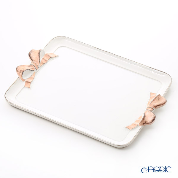 Florentine Wooden Crafts 'White & Pink Ribbon' Rectangular Tray 41x29.5cm