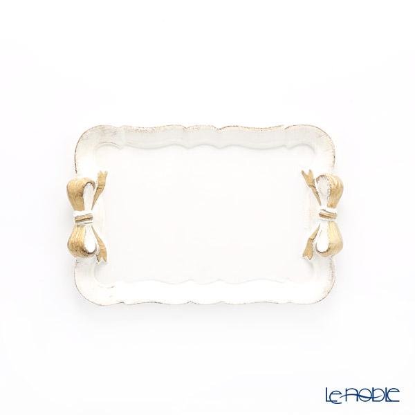 フィレンツェ トレイ 長方形 ホワイト リボン ゴールド 23×15cm F3046/0
