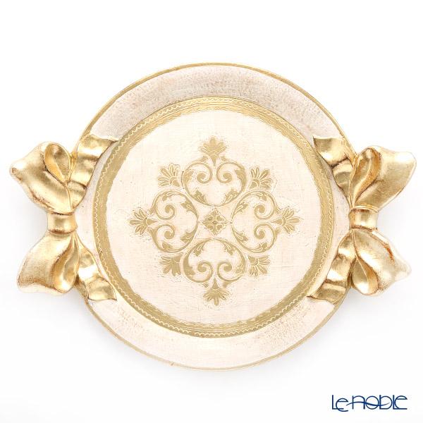 フィレンツェ トレイ ラウンド リボン ホワイト ゴールドリボン 47×37cm 1000TR
