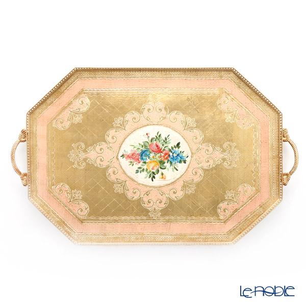 フィレンツェ トレイ オクタゴナル フラワー ゴールドピンク 50×80cm 99935