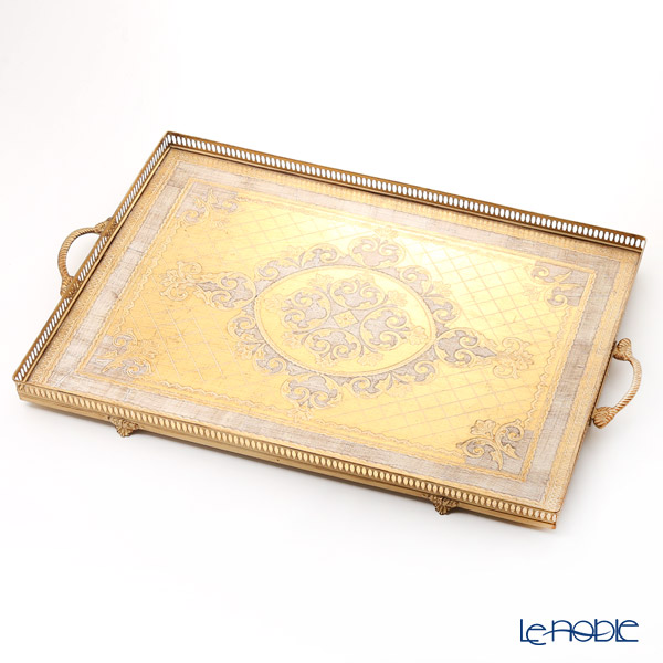 Florentine Wooden Crafts 'White & Gold with Arabesque pattern' 99934 Gallery Rectangular Tray 50x80cm