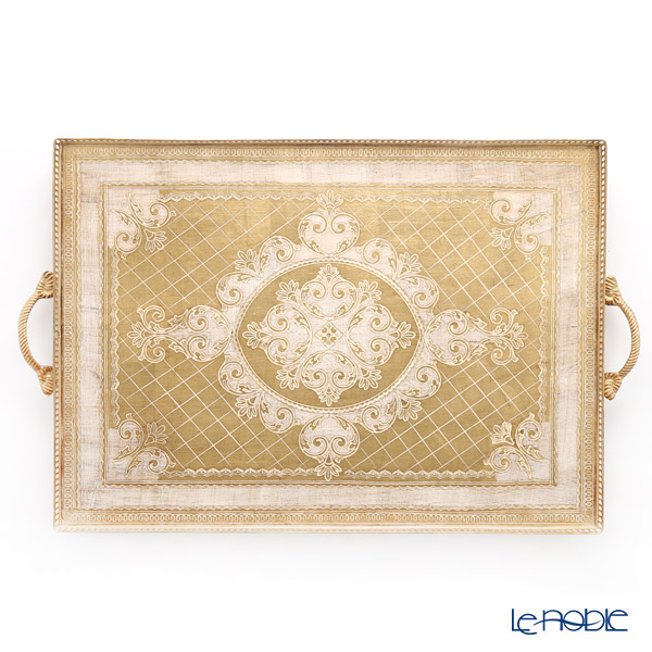 フィレンツェ トレイ 長方形 ゴールドホワイト 50×80cm 99934