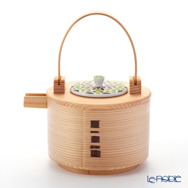 Kyo ware / Kiyomizu ware 'Sai Mangekyomon' Green K0993 Sake / Tea Container 600 ml