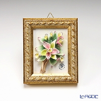 Capodimonte porcelain flower frame rectangle Gold Orchid 2798 / 6