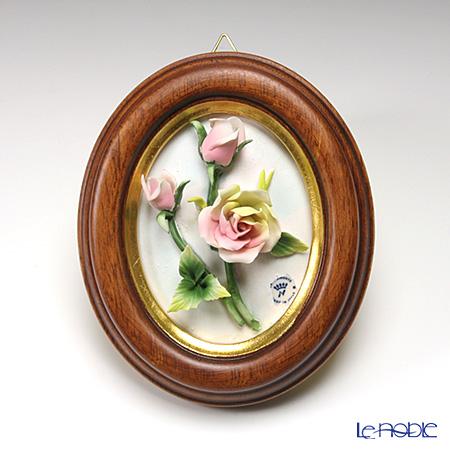 カポディモンテ陶花フレーム オーバル茶縁ローズスプレイ 4699/6