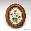 Capodimonte porcelain flower frame oval 茶縁 ローズス play 4699 / 6