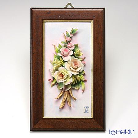 カポディモンテ陶花フレーム 長方形 茶縁ローズ 43.04