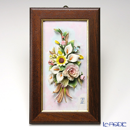 Capodimonte 'Porcelain Flowers' 44.04 Rose & Sunflower Bouquet with Rectangular Frame / Wall Decor