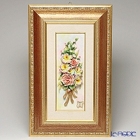 Capodimonte porcelain flower frame rectangle 茶縁 gold rose and Orchid 4399 / 4