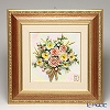 Capodimonte porcelain flower frame square 茶縁 rose gold / orchid 4399 / 5