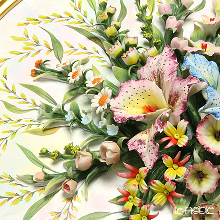 Capodimonte 'Porcelain Flowers' 1901.1-V Orchid Bouquet with Gold Round Frame / Wall Decor