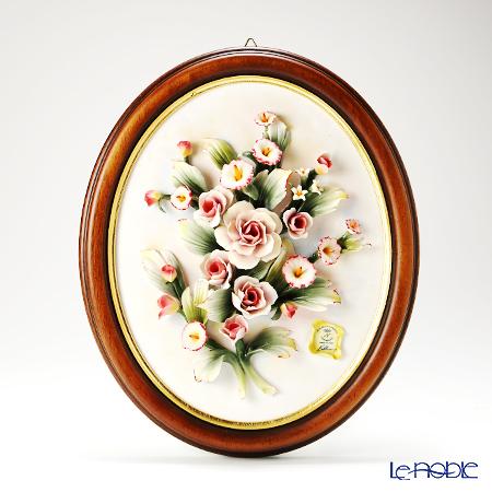 カポディモンテ陶花フレーム オーバルコゲ茶縁ローズ/フラワー 1101T