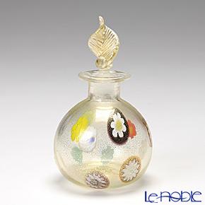 Campanella 'Simple Millefiori / Thousand Flowers' Multicolor & Gold Foil Round Ball Perfume Bottle (Leaf knob) H7cm
