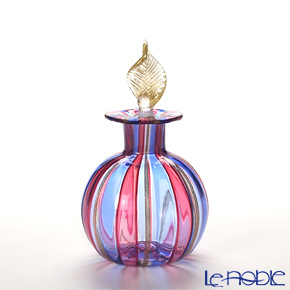 Campanella 'Stripe' Blue / Ruby Red / Bronze & Gold Round Ball Perfume Bottle (Leaf knob) H11cm