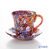 Campanella 'Millefiori / Thousand Flowers' Primary Multicolor & Gold Coffee Cup & Saucer