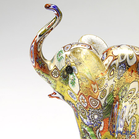 Campanella 'Millefiori / Thousand Flowers' Primary Multicolor & Gold foil Animal Figurine - Elephant H11cm