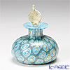 Campanella 'Mosaic - Millefiori / Thousand Flowers' Turquoise Blue & Gold foil Oval Perfume Bottle (Leaf knob) 7cm
