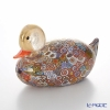 Campanella 'Millefiori / Thousand Flowers' Primary Multicolor & Gold foil Animal Figurine - Duck 18xH10cm (XL)