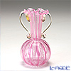 Campanella 'Lace Stripe' Pink & Gold Ruffle Vase with handles H12.5cm (S)