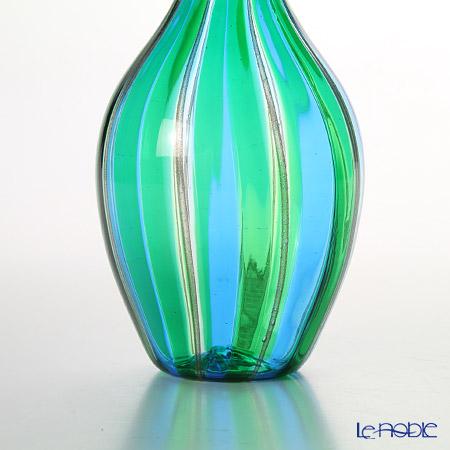 Campanella 'Stripe' Light Blue / Green / Bronze Bottle H35cm