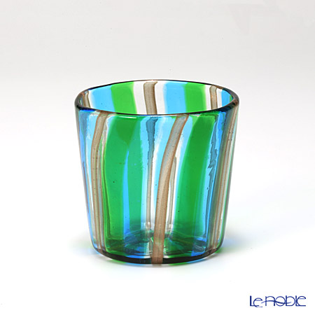 カンパネラ オールド(S)ストライプ ライトブルー×グリーン×ブラウン 9/BP