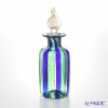 Campanella 'Stripe' Cobalt Blue / Green / Bronze & Gold Round Tall Perfume Bottle (Leaf knob) H13cm