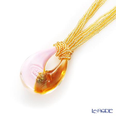 Primofiore / Venetian Glass 'ECO1386' Pink & Gold Pendant 47cm